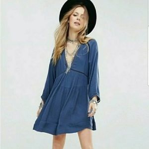 Free People Go Lightly Swing Dress Blue Size Large